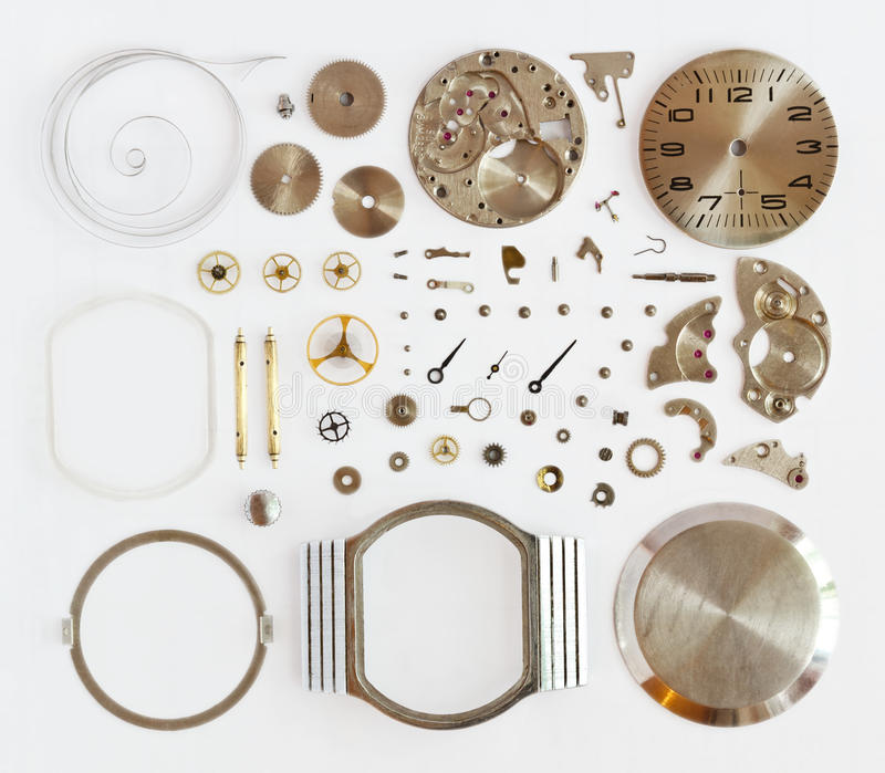 Demontert mekaniskt armbandsur arkivbild