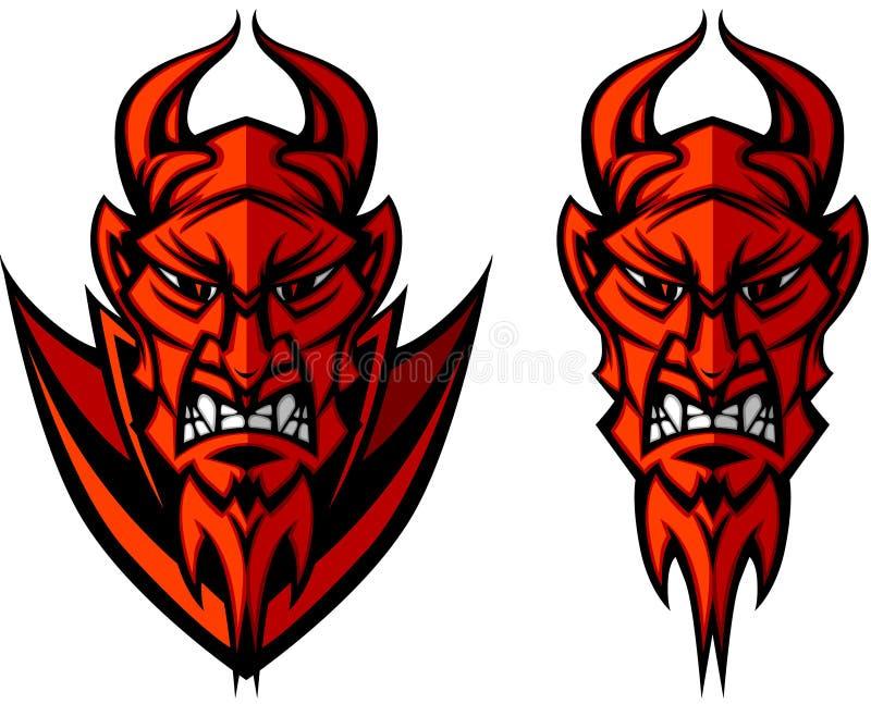 demonu czarci loga maskotki wektor ilustracji