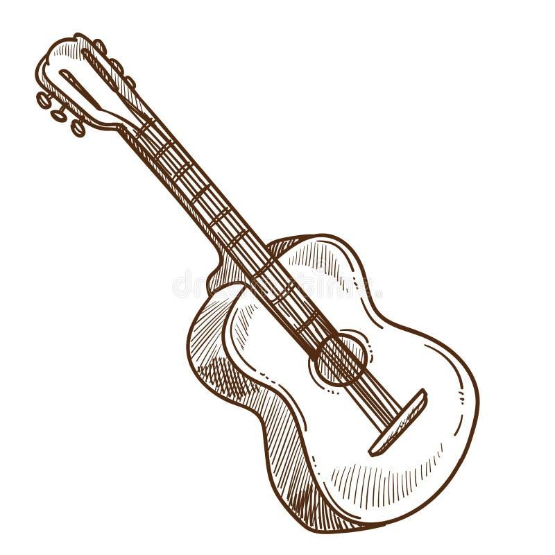 Demostración aislada de la música del bosquejo del instrumento musical de la guitarra acústica ilustración del vector