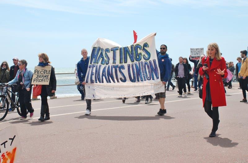 Demostración anti de la austeridad, Hastings imagen de archivo