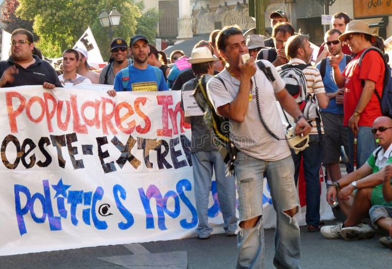 Demostración antigubernamental en las calles de Madrid, España fotos de archivo