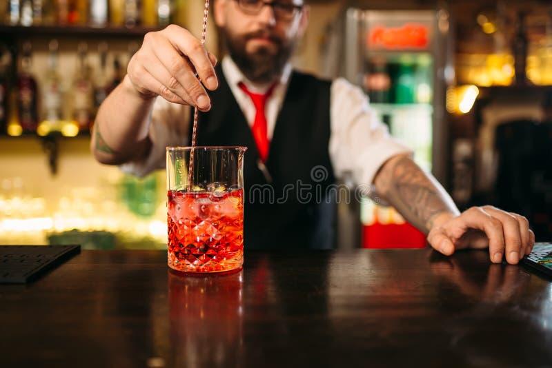 Demostración atractiva de la preparación de la bebida alcohólica fotos de archivo libres de regalías