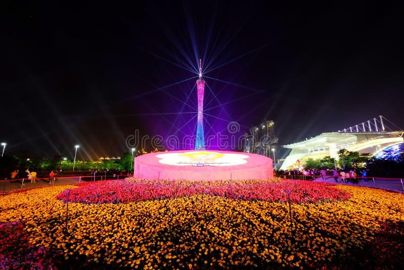 Demostración china de la iluminación del Año Nuevo 2016 en el cuadrado de Guangzhou Huacheng fotografía de archivo