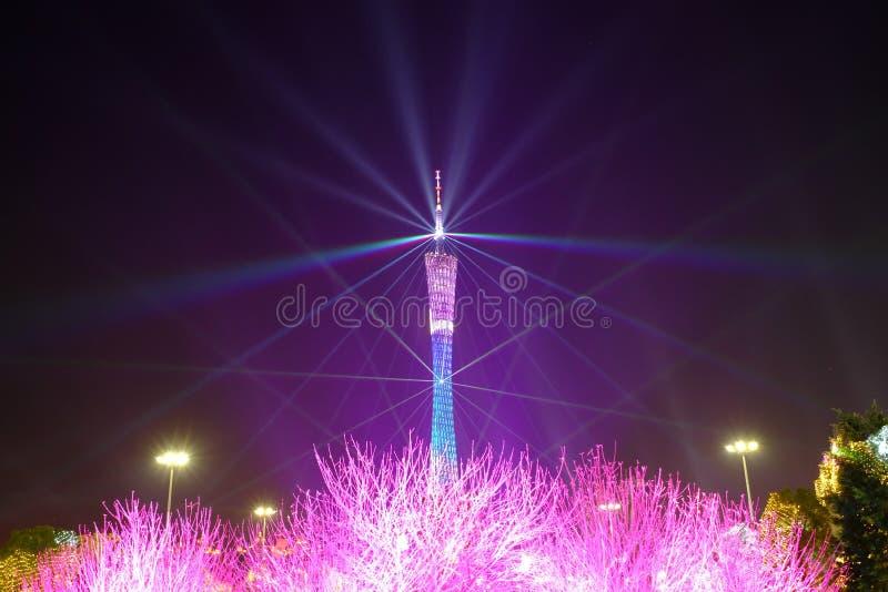 Demostración china de la iluminación del Año Nuevo 2016 en el cuadrado de Guangzhou Huacheng fotos de archivo libres de regalías