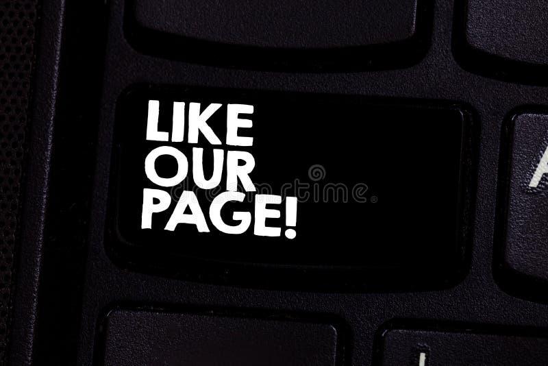 Demostración conceptual de la escritura de la mano como nuestra página El texto de la foto del negocio nos sigue en el contacto d imagen de archivo libre de regalías