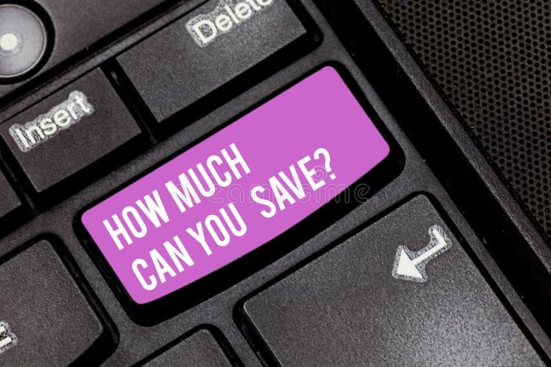 Demostración conceptual de la escritura de la mano cuánto puede usted Savequestion Dinero de exhibición de la foto del negocio di fotos de archivo