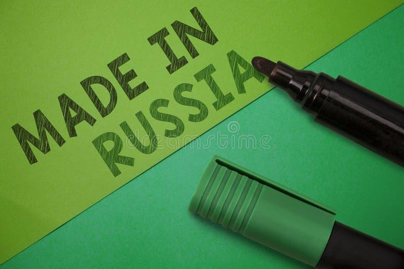 Demostración conceptual de la escritura de la mano hecha en Rusia Foto del negocio que muestra el producto o algo de A que se fab foto de archivo libre de regalías