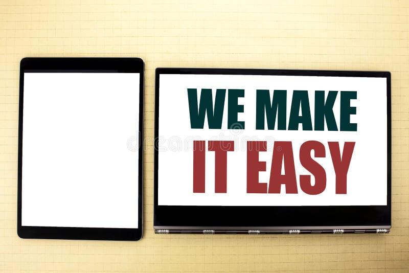 Demostración conceptual de la inspiración del subtítulo del texto de la escritura de la mano la hacemos fácil Concepto del negoci foto de archivo libre de regalías