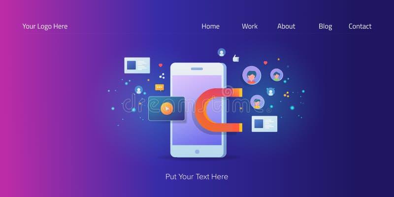 Demostración contenta en el teléfono móvil, márketing de entrada de los medios sociales virales para atraer la atención del usuar ilustración del vector