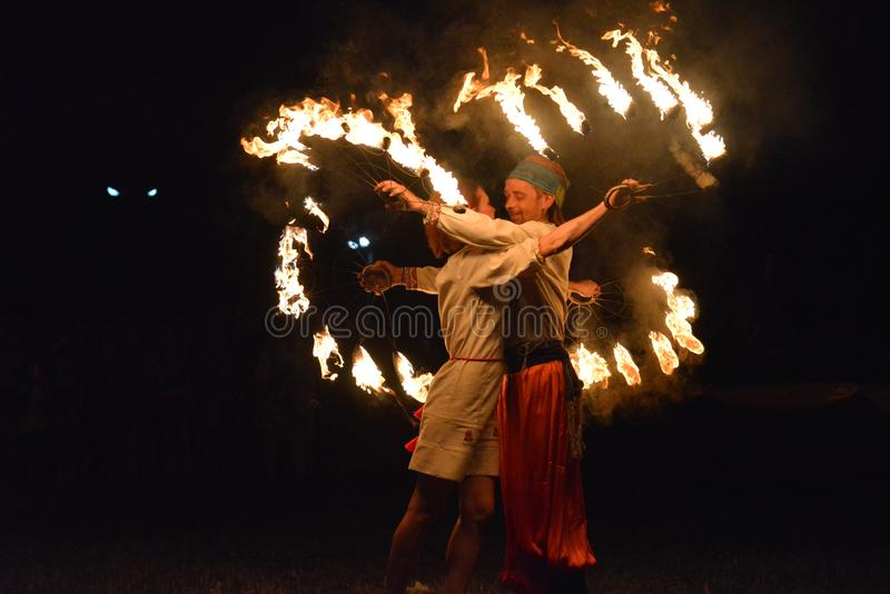 Demostración cosaca del fuego imagen de archivo libre de regalías