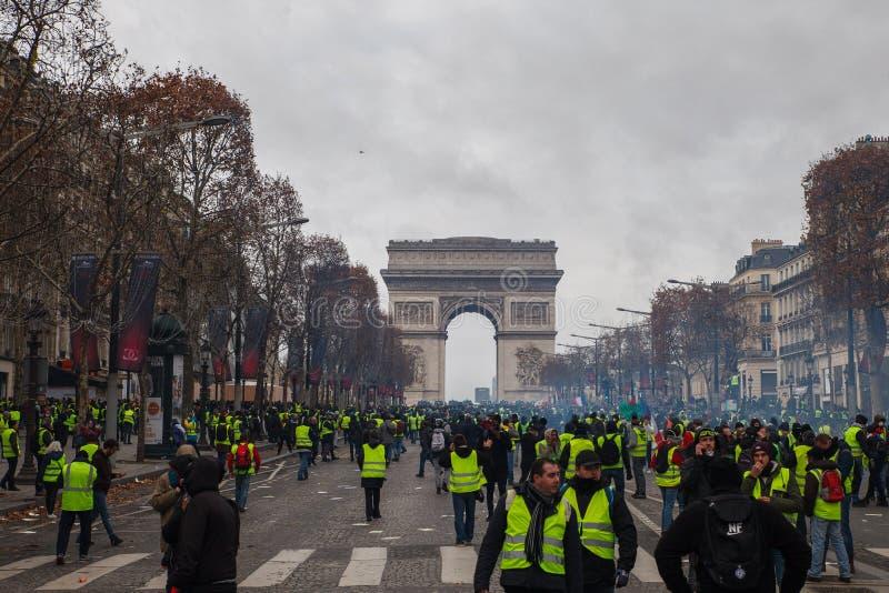 Demostración de 'Gilets Jaunes en París, Francia foto de archivo