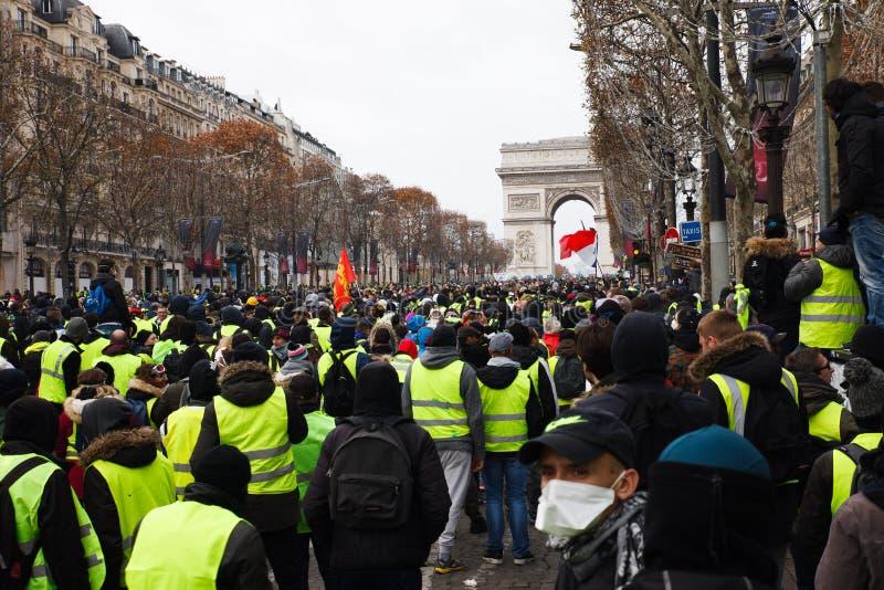 Demostración de 'Gilets Jaunes en París, Francia imagen de archivo libre de regalías