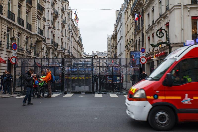Demostración de 'Gilets Jaunes en París, Francia imágenes de archivo libres de regalías