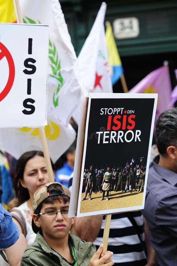 Demostración de ISIS contra terrorismo en Iraq foto de archivo libre de regalías