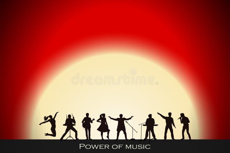 Demostración de la banda en fondo rojo de la puesta del sol Concepto del festival ilustración del vector