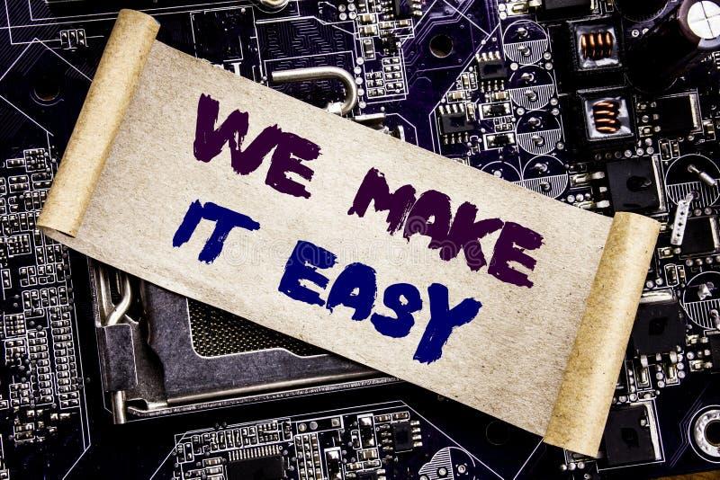 Demostración de la inspiración del subtítulo del texto de la escritura de la mano la hacemos fácil Concepto del negocio para la s fotos de archivo libres de regalías