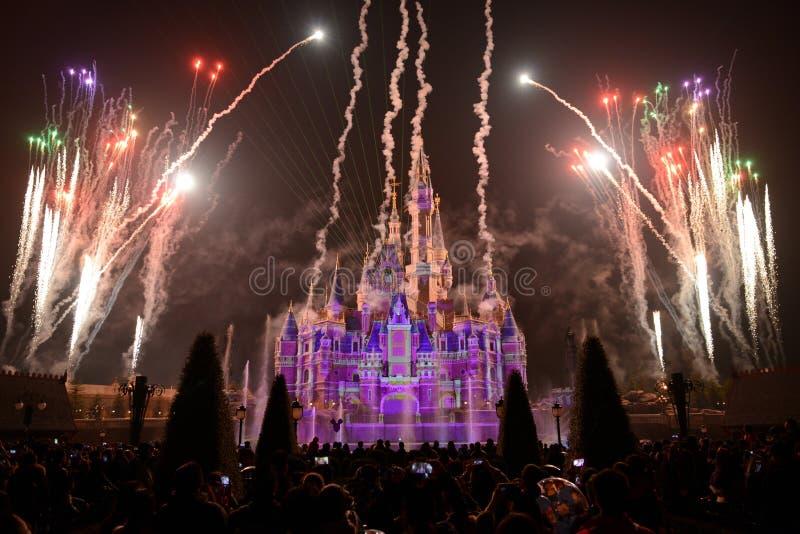 Demostración de la luz y de los fuegos artificiales en Shangai Disneyland fotografía de archivo libre de regalías