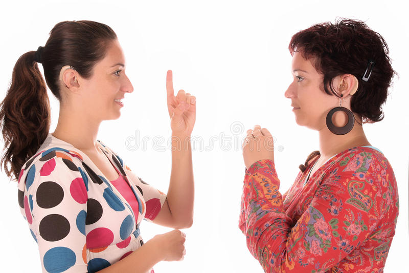 Demostración de la mano de las personas sordas foto de archivo