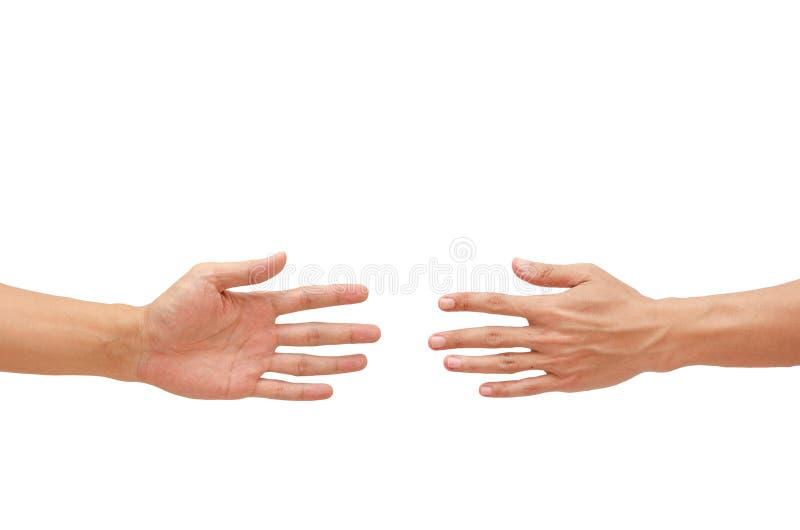 Demostración de la mano del hombre un piedra papel o tijera del juego imagenes de archivo