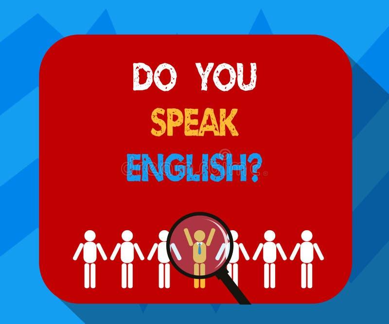Demostración de la muestra del texto usted habla Englishquestion Foto conceptual que habla aprendiendo la lupa de los otros idiom stock de ilustración
