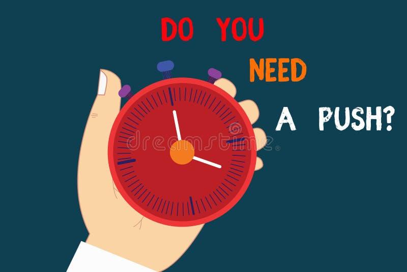 Demostración de la muestra del texto usted necesita un Pushquestion La foto conceptual nos dice si usted puede utilizar para ayud stock de ilustración