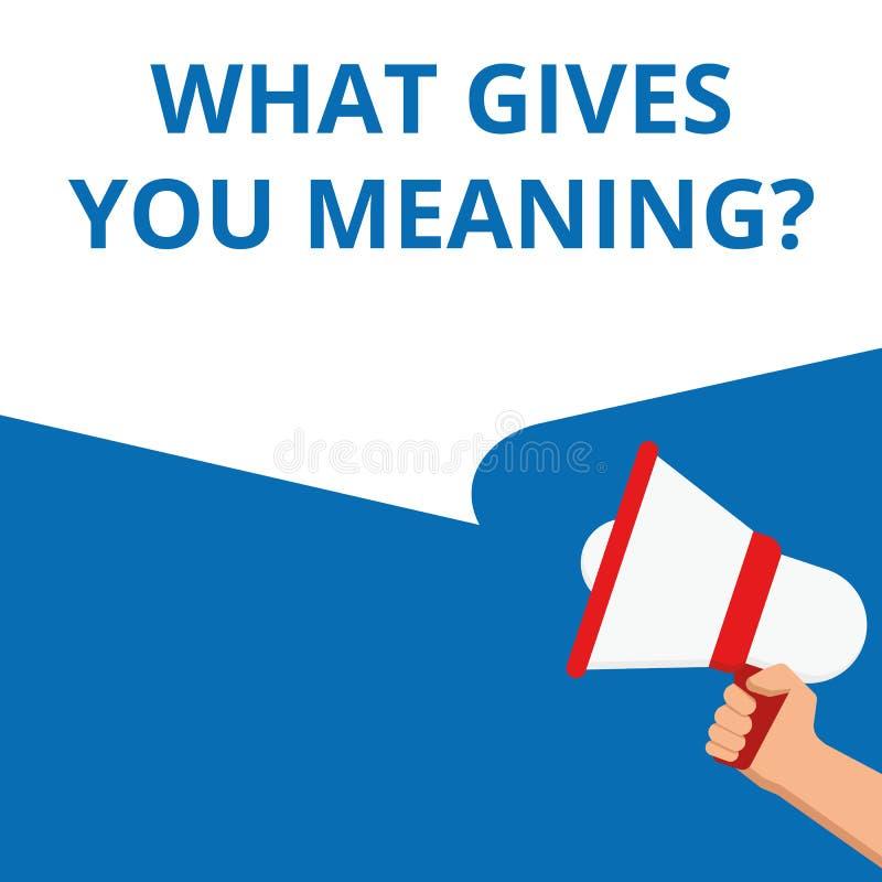 Demostración de la nota de la escritura qué le da la pregunta del significado libre illustration