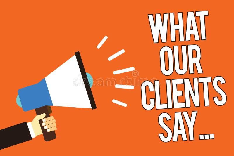 Demostración de la nota de la escritura qué nuestros clientes dicen Foto del negocio que muestra sus comentarios de clientes usan libre illustration