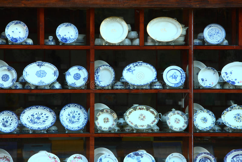 Demostración de la ventana de la porcelana, Jingdezhen China foto de archivo
