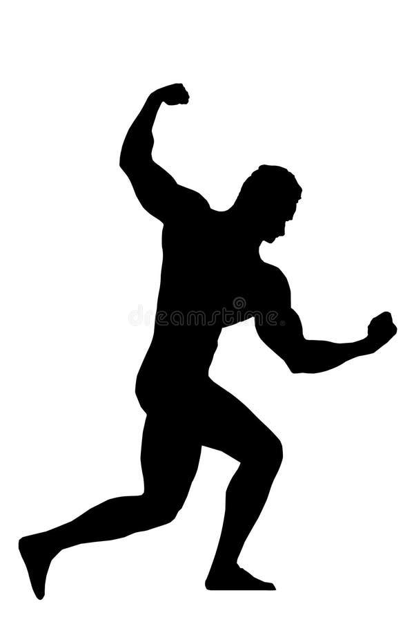 Demostración de los posts del hombre de Sillhouettes en competencia del levantamiento de pesas stock de ilustración