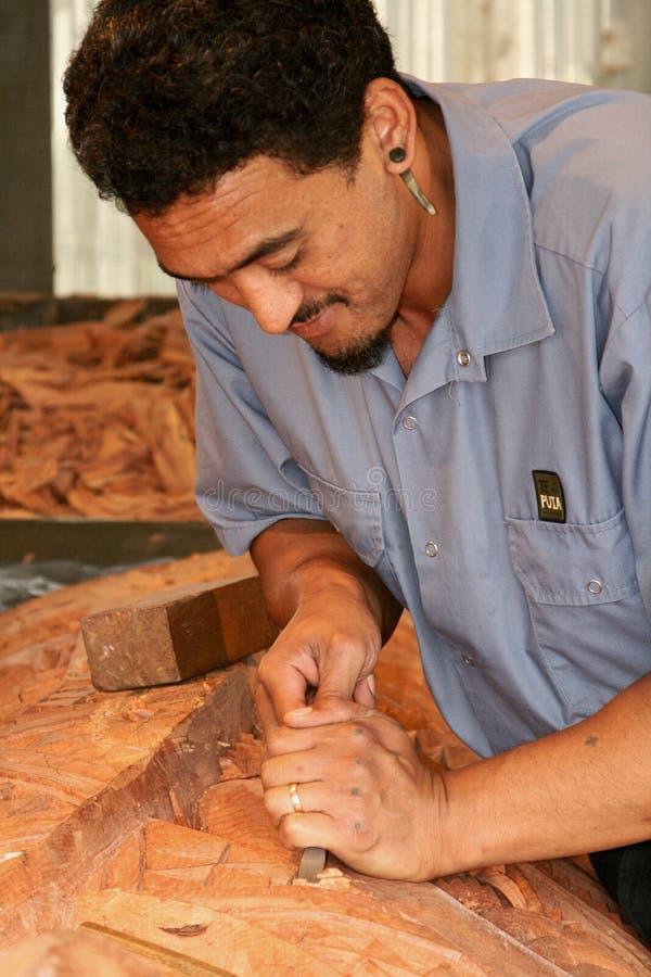 Demostración de talla maorí fotografía de archivo libre de regalías