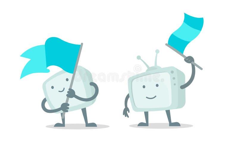 Demostración del carácter de la TV con con el sistema de la bandera Carácter que agita una bandera Con una sonrisa de la cara, de libre illustration