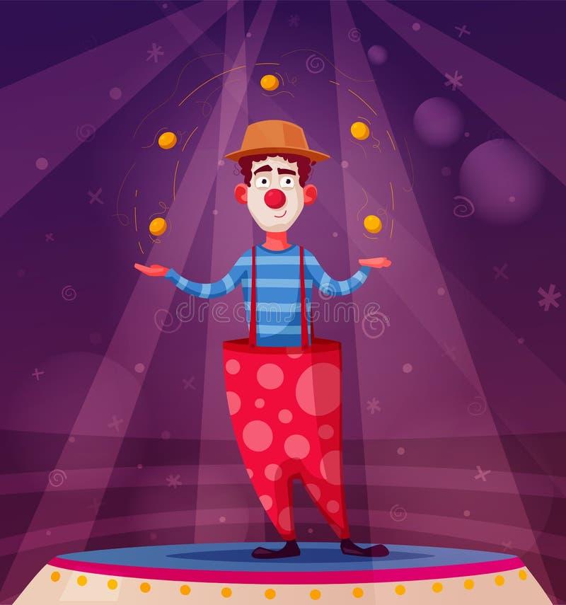 Demostración del circo El carácter divertido del payaso hace juegos malabares Ilustración del vector de la historieta stock de ilustración