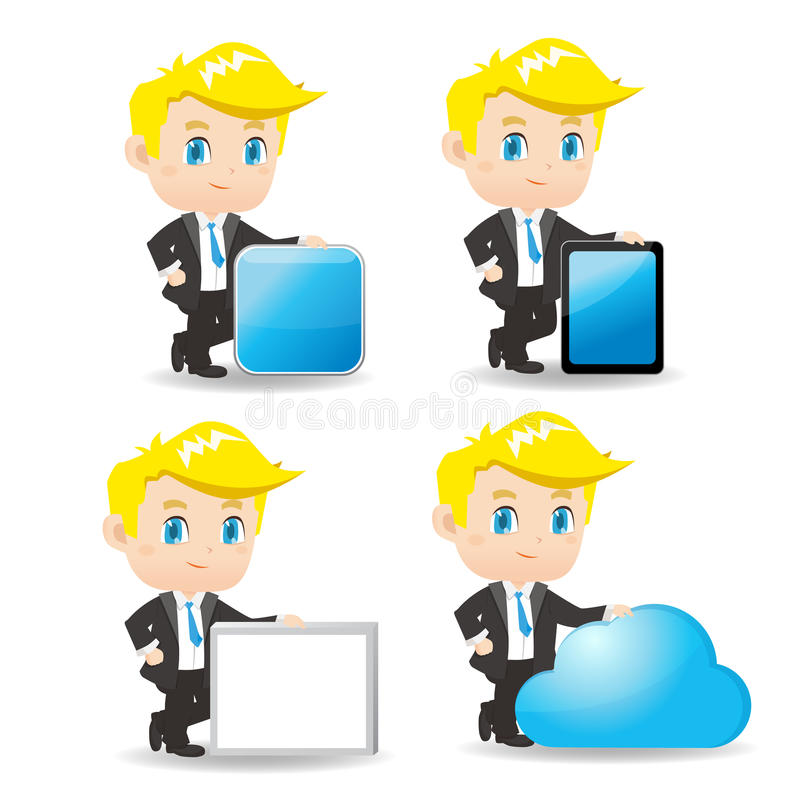 Demostración del hombre de negocios de la historieta algo ilustración del vector