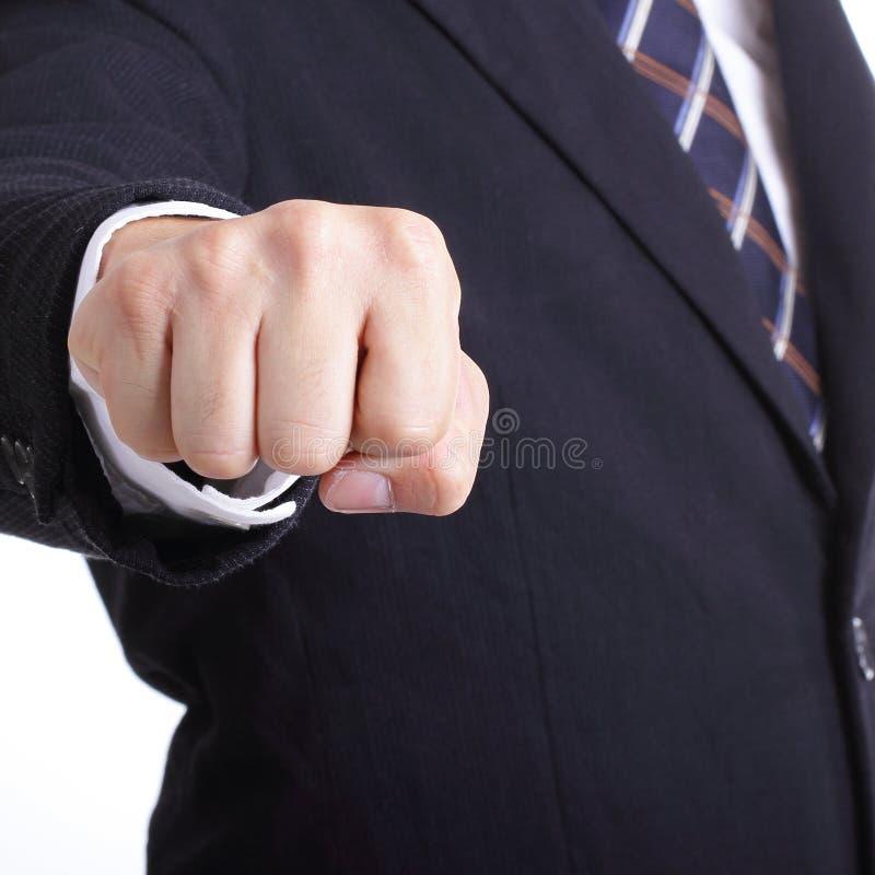 Demostración del hombre de negocios que perfora para el problema del slove imagen de archivo