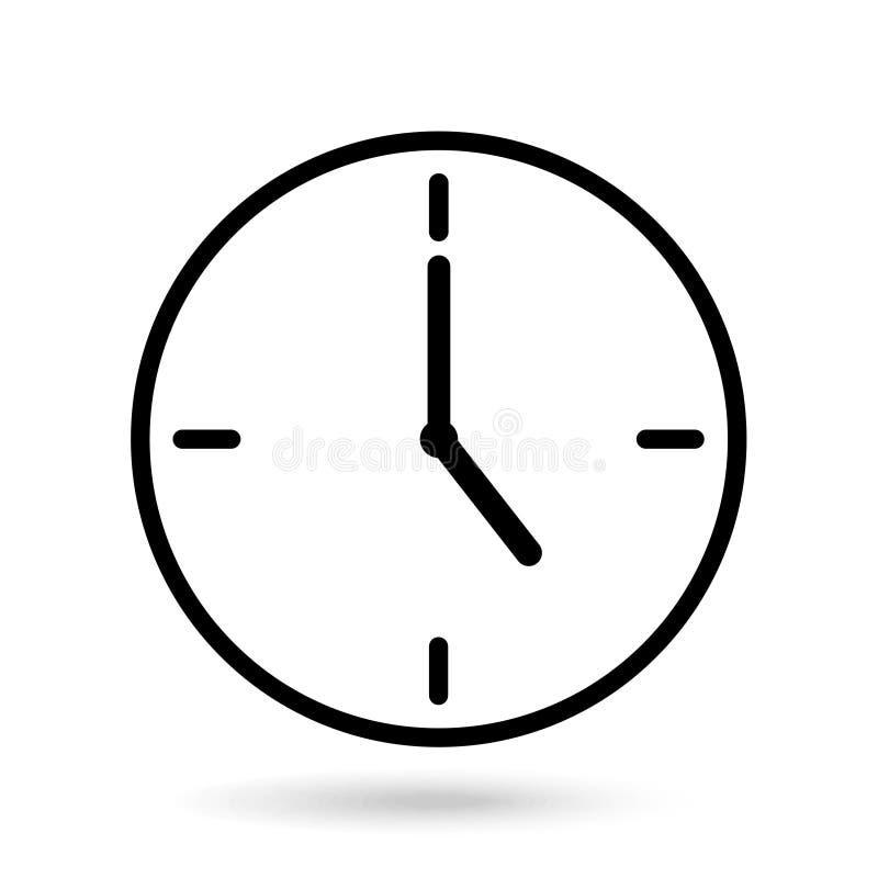 Demostración del reloj cinco horas de fondo blanco aislado ilustración del vector