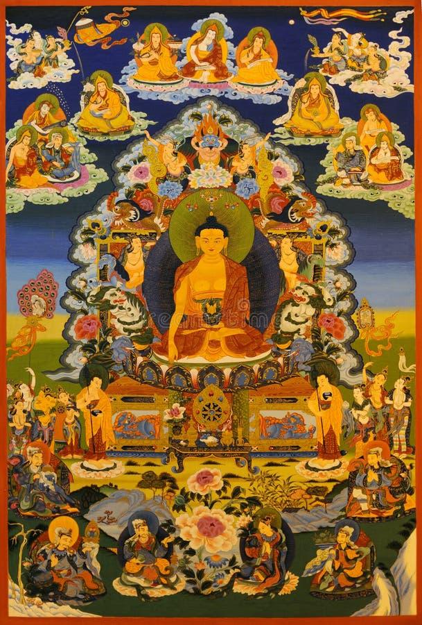 demostración del tangka, buddha Shakyamuni foto de archivo libre de regalías