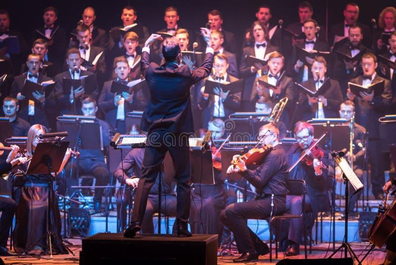 Demostración The Game de la orquesta sinfónica de tronos en Kiev foto de archivo libre de regalías