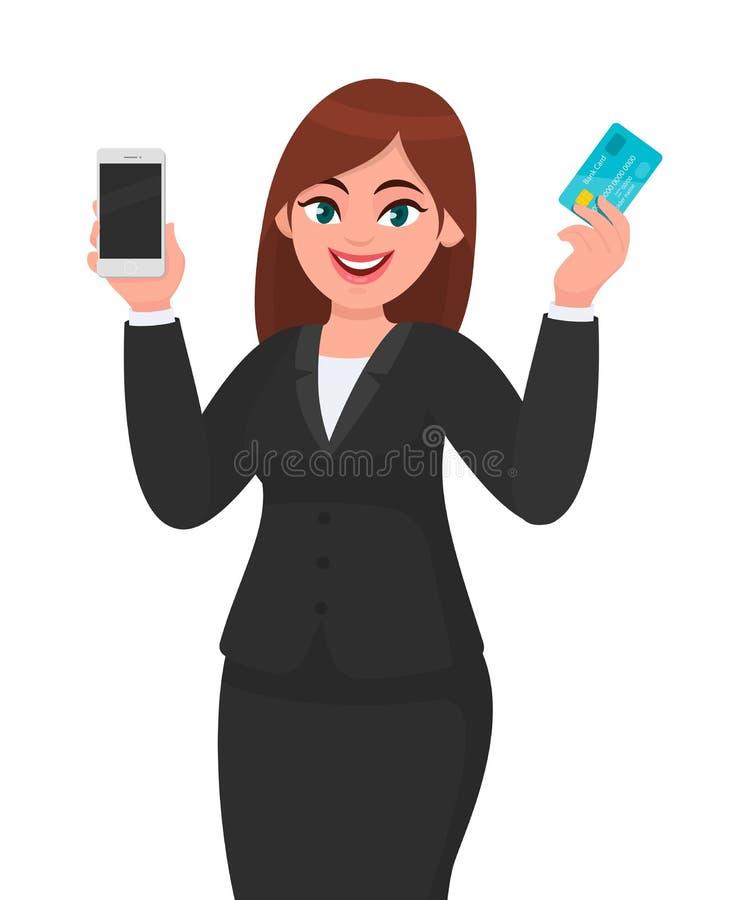 Demostración joven profesional de la mujer de negocios/sostener la nueva última tarjeta de actividades bancarias del móvil, de la ilustración del vector