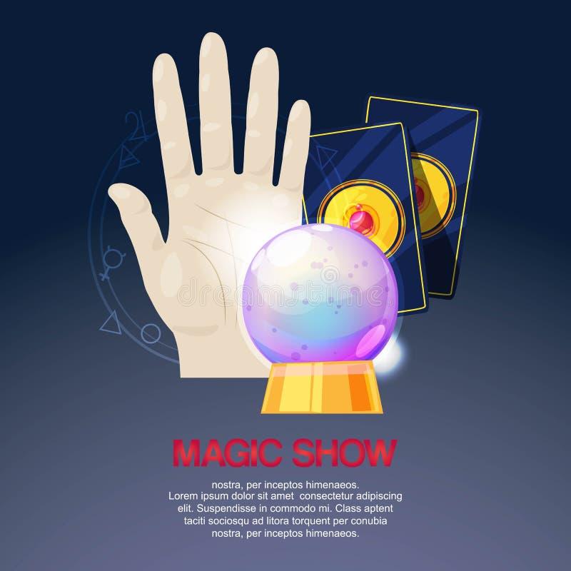 Demostración mágica, funcionamiento del truco, ejemplo del vector de la bandera del fondo del circo Accesorios para el mago, pres stock de ilustración