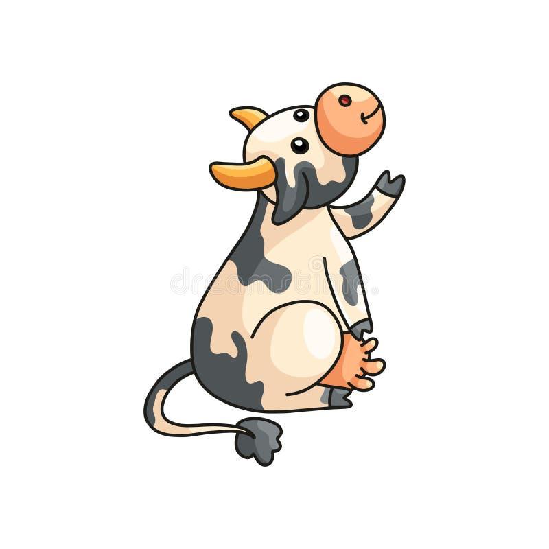 Demostración manchada sonriente divertida de la vaca o pedir algo aislado en blanco libre illustration
