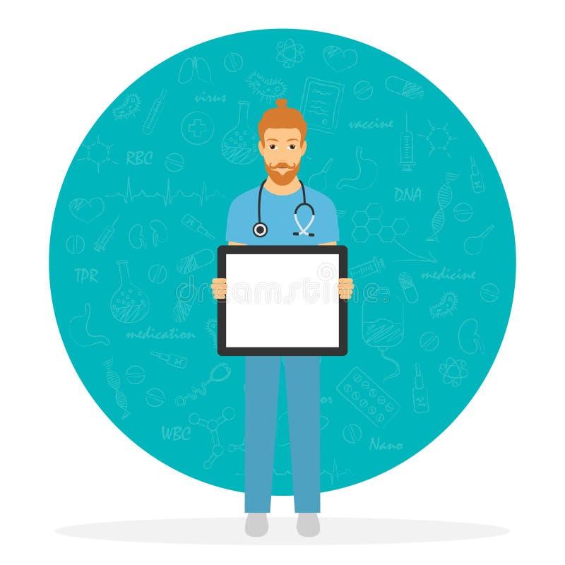 Demostración masculina del doctor en el tablero blanco Personal médico en el lugar de trabajo Ilustración común del vector ilustración del vector