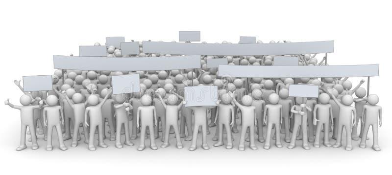 Demostración - muchedumbre enorme ilustración del vector