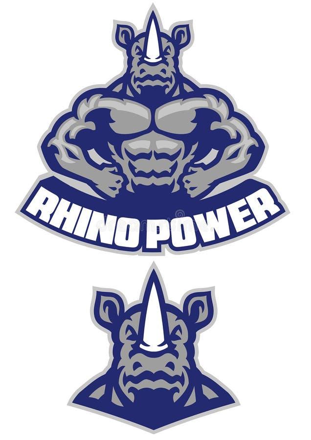 Demostración muscular de la mascota del rinoceronte su cuerpo atlético ilustración del vector