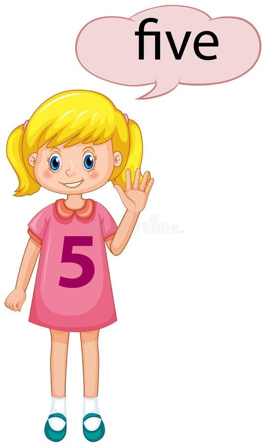 Demostración número cinco de la muchacha stock de ilustración