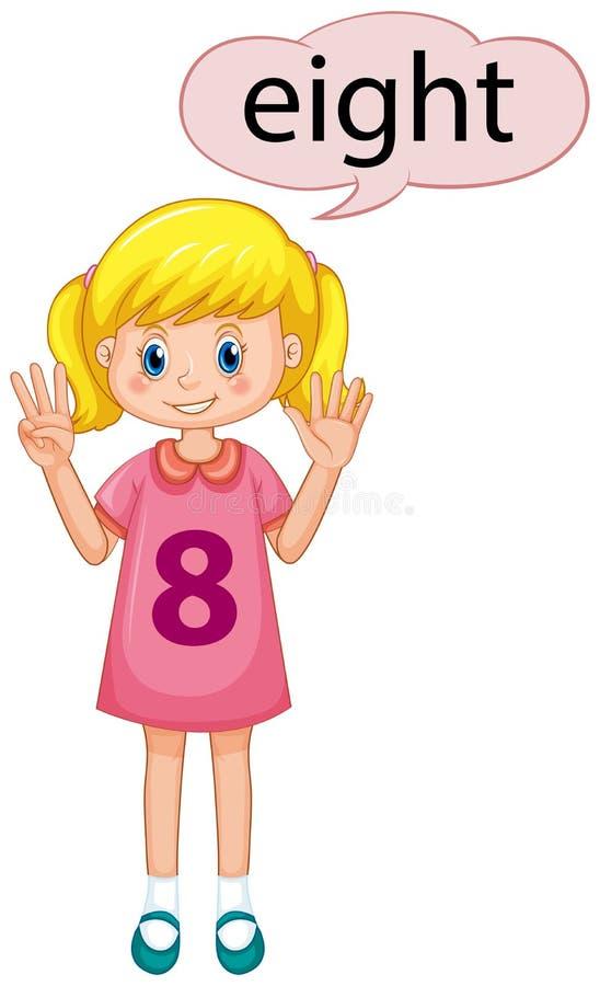 Demostración número ocho de la muchacha ilustración del vector