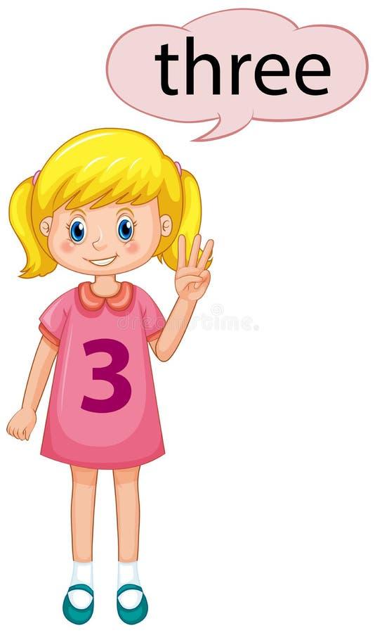 Demostración número tres de la muchacha ilustración del vector