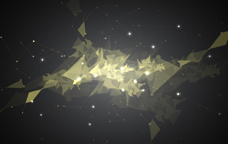 Demostración negra abstracta de la luz del fondo de la tecnología del triángulo de la malla ilustración del vector