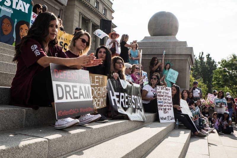 Demostración pacífica de los soñadores imagenes de archivo
