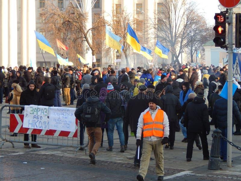 Demostración pacífica en Kiev imagen de archivo