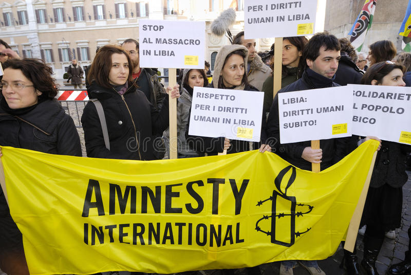 Demostración pacífica en Roma, Italia imagen de archivo libre de regalías